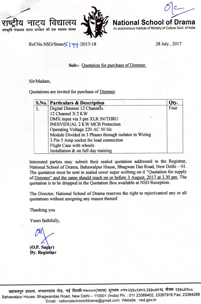 Quotation Invited For Purchase Of Dimmer