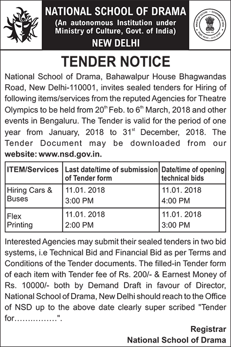 Tender Notice for Hiring of items/services at Chennai