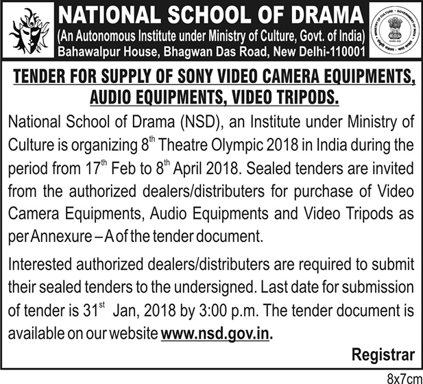 Tender for supply of Sony Video Camera / Audio Equipments